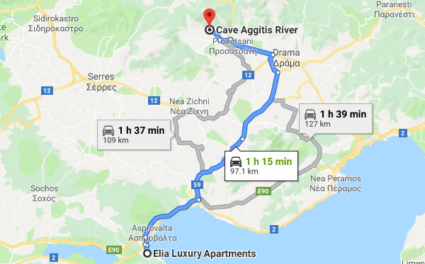 Directions on how to go from Elia Luxury Apartments to Aggitis Cave
