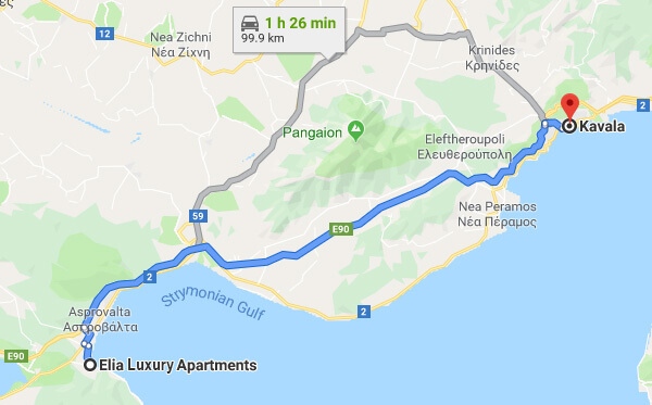 Directions on how to go from Elia Luxury Apartments to Kavala