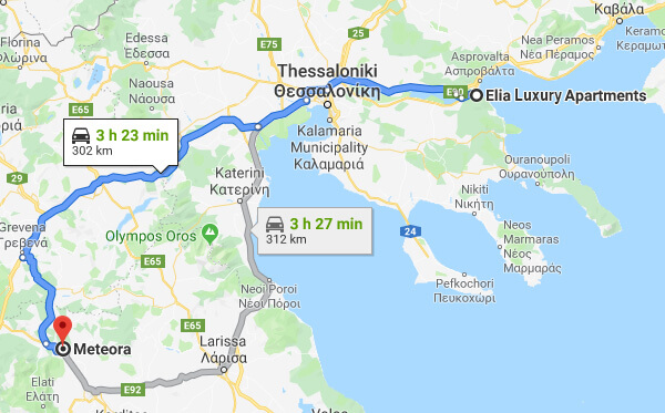 Directions on how to go from Elia Luxury Apartments to Meteora