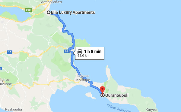 Directions on how to go from Elia Luxury Apartments to Mount Athos