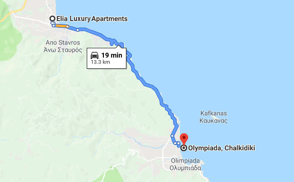 Directions on how to go from Elia Luxury Apartments to Olympiada