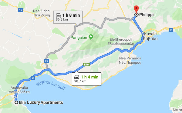 Directions on how to go from Elia Luxury Apartments to Philippi