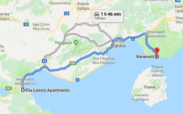 Directions on how to go from Elia Luxury Apartments to Thasos Island