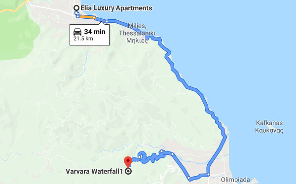 Directions on how to go from Elia Luxury Apartments to Varvara Waterfalls