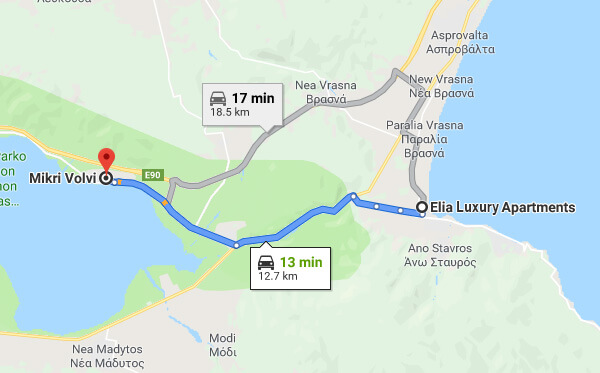 Directions on how to go from Elia Luxury Apartments to Lake Volvi